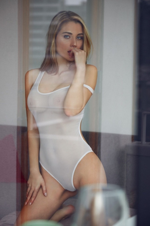 Blonde gilrl in transparent lingerie
