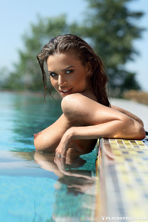 brunette in the pool