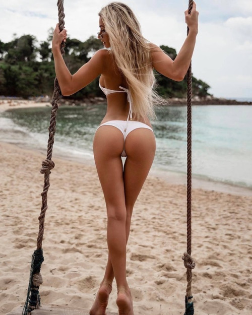 Blonde on a swing