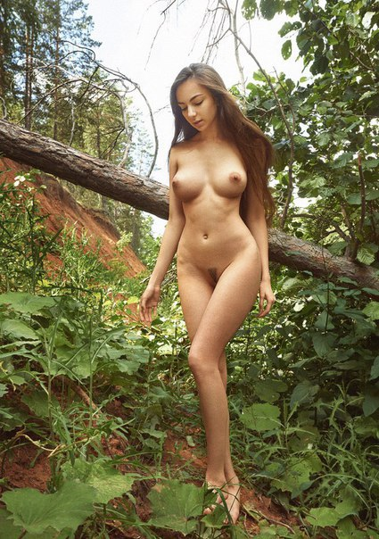 Nude beautiful girl and the nature